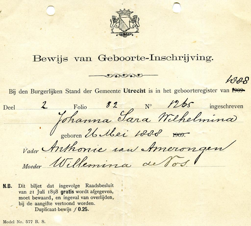 Bewijs van Geboorte-inschrijving van Johanna Sara Wilhelmina van Amerongen op 26 mei 1888.