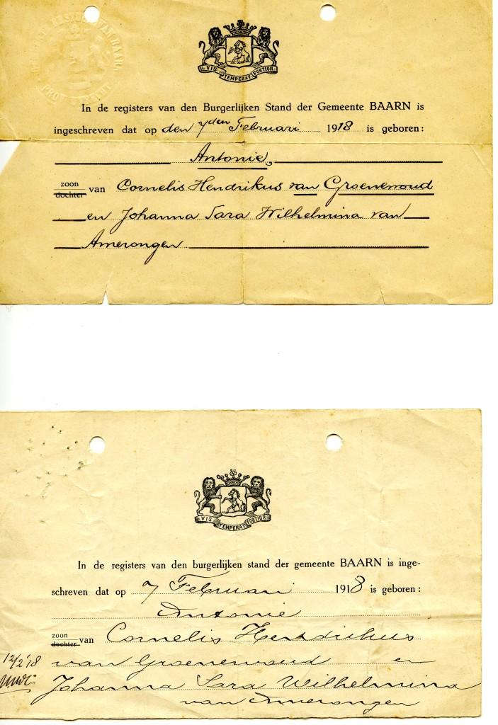 Bewijs van inschrijving de geboorte van Antonie van Groenewoud op 7 februari 1918 in Baarn, zoon van Cornelis Hendrikus van Groenewoud en Johanna Sarah Wilhelmina van Amerongen.