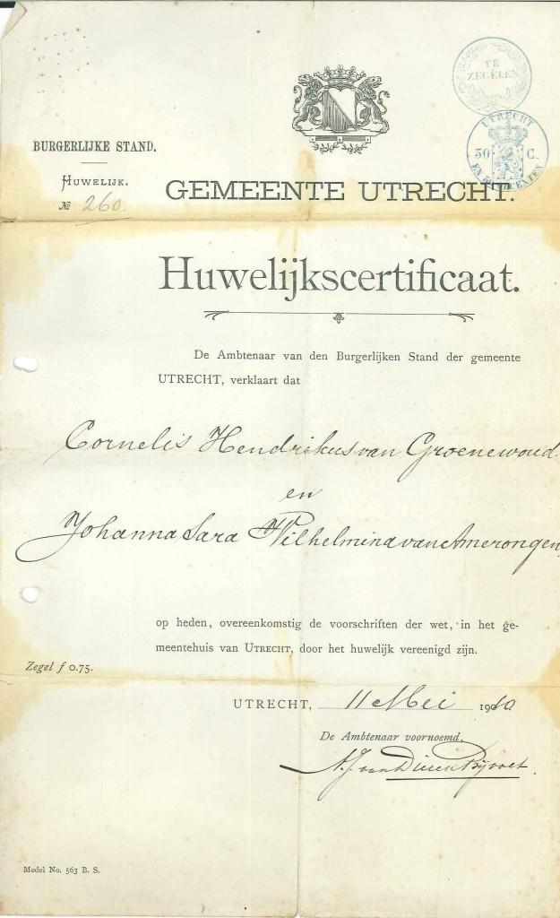 Huwelijkscertificaat Cornelis Hendrikus van Groenewoud met Johanna Sara Wilhelmina van Amerongen, 11 mei 1910