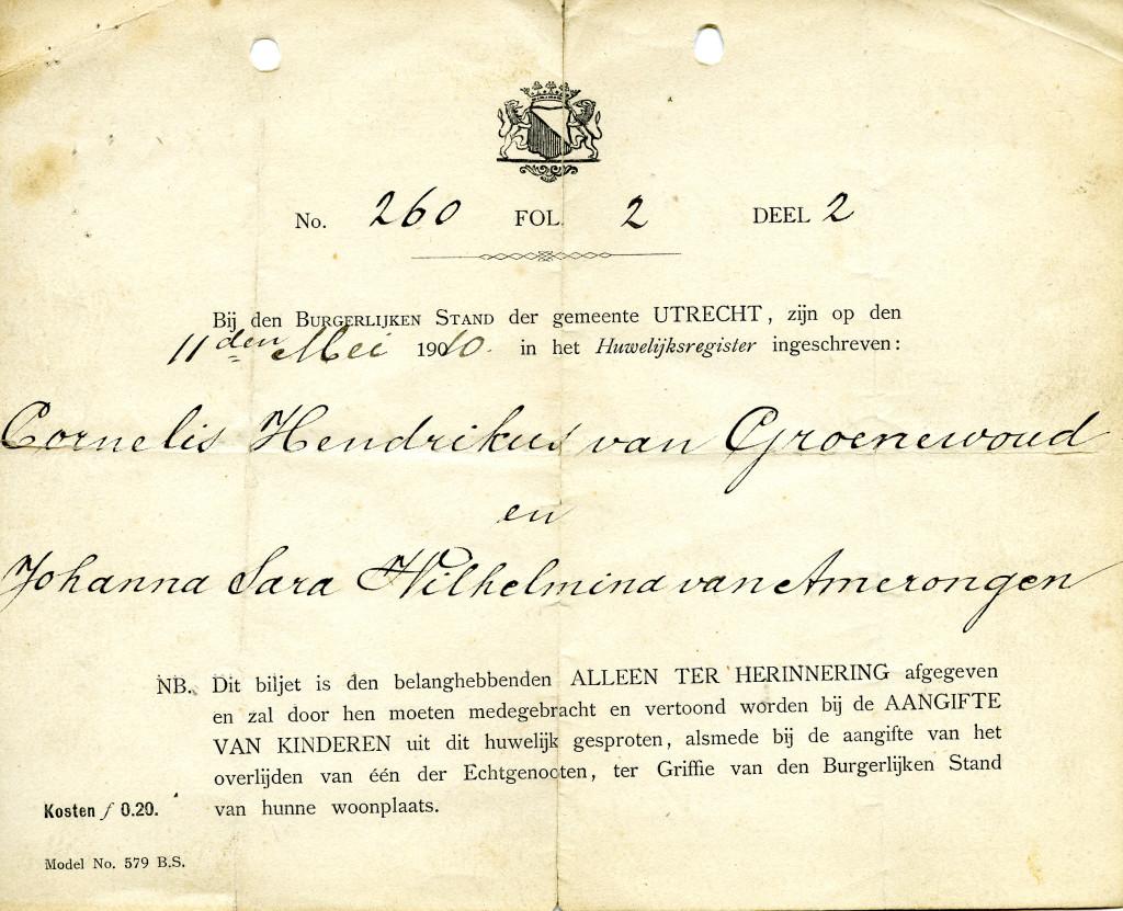 Inschrijving van het huwelijk tussen Cornelis Hendrikus van Groenewoud met Johanna Sara Wilhelmina van Amerongen.