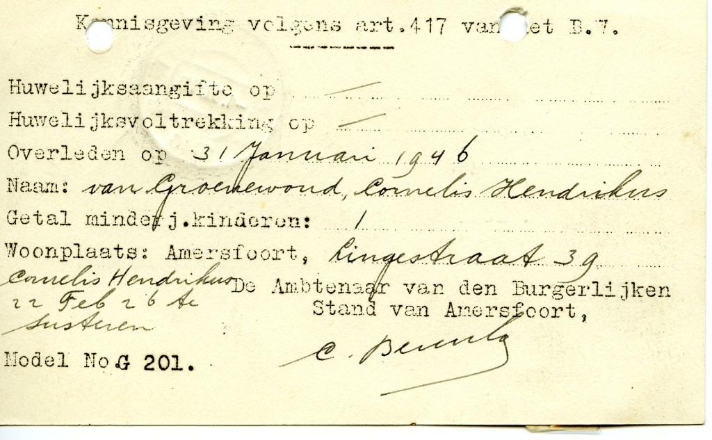 Kennisgeving aan Kantongerecht van overlijden Cornelis Hendrikus van Groenewoud (1)