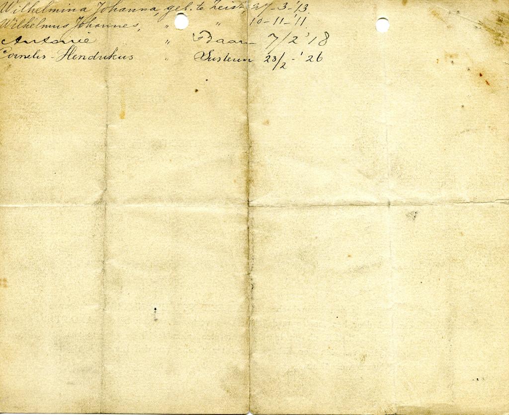 Namen en geboortedata van kinderen uit het huwelijk van Cornelis Hendricus van Groenewoud met  Johanna van Amerongen.