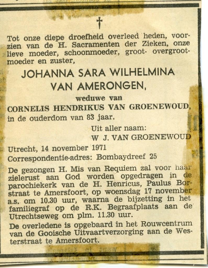 Overlijdensadvertentie Johanna Sara Wilhelmina van Amerongen
