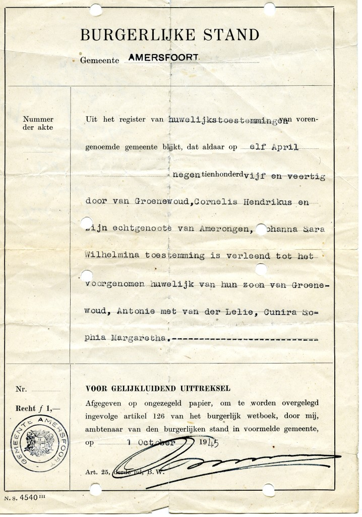 Toestemming tot het huwelijk van Antonie van Groenewoud met Cunira Sophia Margaretha van der lelie, 1 oktober 1945.