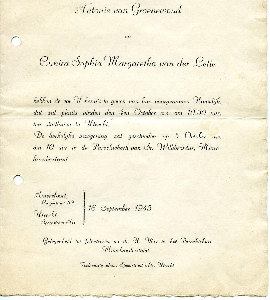 Huwelijksaankondiging Antonie van Groenewoud met Cunira Sophia Margaretha van der lelie voor 4 oktober 1945 in Utrecht.